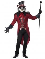 Schauriger Dompteur Herrenkostüm für Halloween Hutmacher rot-schwarz-gold