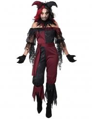 Psychopatisches Harlekin-Kostüm für Damen Halloween-Verkleidung rot-schwarz