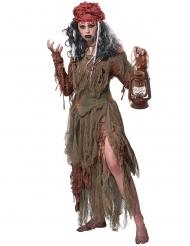 Mystisches Magierin-Damenkostüm Voodoo-Verkleidung braun