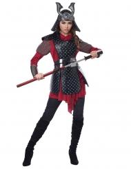 Kriegerische Samurai-Kriegerin für Damen Faschings-Kostüm rot-schwarz