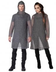 Mittelalterliches Kettenhemd für Erwachsene Ritter-Kostüm silberfarben