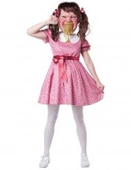 Rotzfreches Mädchen Damenkostüm für Fasching rosa-weiss