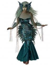 Düstere Meerjungfrau-Damenkostüm für Halloween Meerhexen-Verkleidung blau-grün