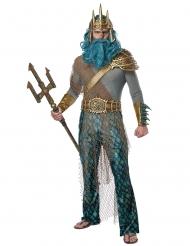 Poseidon Meeresgott-Kostüm für Karneval grau-blau