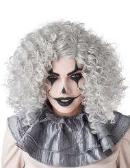 Clown-Perücke für Erwachsene Halloween grau