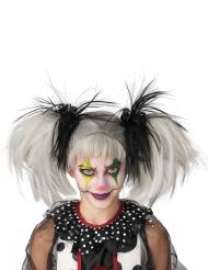 Horrorclown-Perücke für Mädchen Kostüm-Accessoire Halloween weiss-schwarz