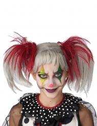Verrückte Clown-Perücke für Kinder Mädchen-Accessoire Halloween weiss-rot