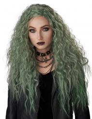 Gothic-Perücke für Halloween Hexe Damen-Accessoire wellig grün
