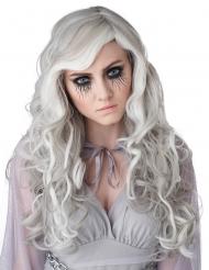 Geister-Perücke mit Wellen langhaarig Damen-Accessoire für Halloween weiss-grau