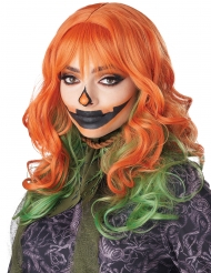 Kürbis-Perücke mit Pony wellig Damen-Accessoire orange-grün