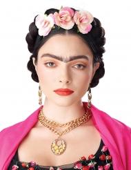 Hochsteckfrisur-Perücke mit Blumen dunkelbraun-rosa