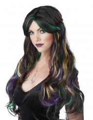Hexen-Perücke für Halloween Damen-Accessoire schwarz-bunt