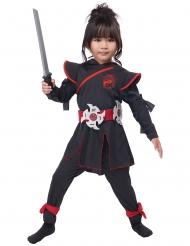 Ninja-Kriegerin Mädchenkostüm für Fasching schwarz-rot