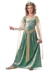 Königliches Mädchenkostüm Prinzessin für Kinder grün-goldfarben