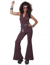 Disco-Queen Damenkostüm 70er-Jahre Faschings-Verkleidung rot-silber