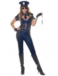 Sexy Polizei-Uniform für Damen blau-braun