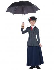 Englische Nanny-Mädchenkostüm Faschingskostüm blau-grau