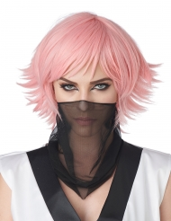 Manga-Perücke Cosplay-Kopfbedeckung Accessoire Pastell-rosa