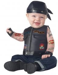 Lustiges Motorradfahrer-Kostüm für Kleinkinder Babykostüm Fasching schwarz