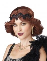 Charleston 20er-Jahre Perücke mit Spitzen-Haarband rot-schwarz