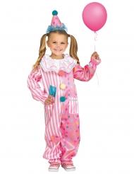 Niedliches Clown-Kostüm für Mädchen Zirkusclown-Overall weiss-rosa-blau