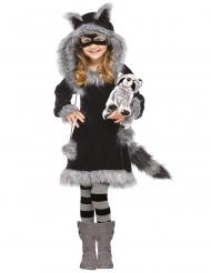 Niedliches Waschbären-Kostüm für Mädchen Tier-Verkleidung schwarz-grau