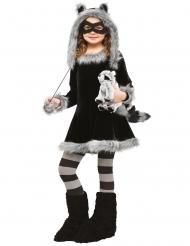 Waschbär-Mädchenkostüm Tier-Verkleidung für Kinder Schwarz-grau