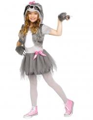 Lustiges Faultier-Kostüm für Mädchen Faschings-Verkleidung grau-weiss
