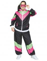 Trainingsanzug 80er-Jahre Jogginganzug Fasching schwarz-pink-grün