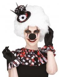 Blutverschmiertes Clown-Set für Damen Halloween 3-teilig schwarz-weiss-rot