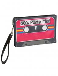 80er Jahre-Handtasche Kassette Faschingsaccessoire rot-schwarz