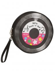Schallplatten-Handtasche 50er-Jahre Accessoire schwarz-bunt