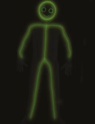 Strichmännchen-Kostüm für Erwachsene LED-Funktion Fasching schwarz-grün