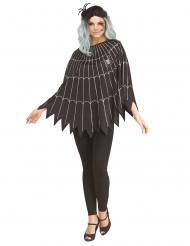 Poncho mit Spinnennetz-Motiv Halloween Accessoire für Damen schwarz-silberfarben