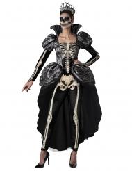 Königliche Skelett-Dame Halloween-Kostüm für Damen schwarz-weiss