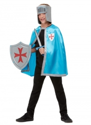 Ritterliches-Kostüm-Set für Kinder 4-teilig Mittelalter blau-grau