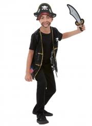 Piraten-Zubehör-Set für Kinder Faschingsaccessoire schwarz-silber