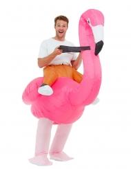 Flamingo-Kostüm aufblasbar Erwachsenen-Kostüm Fasching pink-weiss