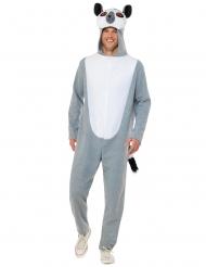 Lemur-Kostüm für Erwachsene Tier-Overall für Fasching grau-weiss