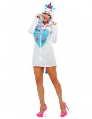 Einhorn-Damenkostüm Kapuzenkleid für Fasching weiss-blau-pink