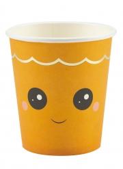 Kawaii-Kürbis-Becher für Halloween mit Kindern Tischzubehör 8 Stück orange 200 ml