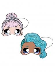 LOL Surprise™-Masken für Kinder Partyzubehör für Geburtstage 6 Stück blau-rosa 19 x 17,5 cm