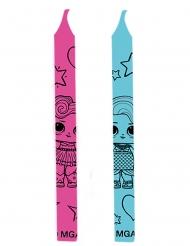 LOL™ Surprise™-Kerzen für Kindergeburtstage 12 Stück blau-rosa 6 cm