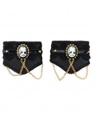 Stilvolle Gothic-Manschetten für Halloween Accessoire schwarz-weiss-gold