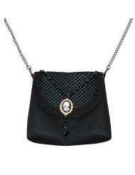Stilvolle Gothic-Handtasche mit Kamee Accessoire schwarz