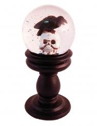 Horror-Schneekugel Totenschädel mit Krähe braun-schwarz-weiß 21 x 10 cm
