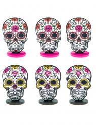 Dia de los muertos-Namensschilder für Halloween-Partys Tischdeko 6 Stück bunt 6 cm