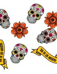 Tag der Toten-Konfetti aus Holz 24-teilig Tischdeko für Halloween bunt