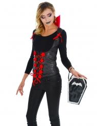 Sarg-Handtasche Fledermaus Kostüm-Accessoire für Halloween schwarz-silberfarben
