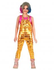 Harlekin-Mädchen Latzhose Karnevalskostüm glänzend gold-gelb